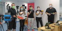 Foto: DSJ / Die Teilnehmer des Videodrehts der DSJ, angeführt von Stefan Rinke (rechts).