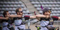 Foto: World Archery / Wie aus einem Guss: Moritz Wieser, Florian Unruh und Maximilian Weckmüller stehen im Paris im Goldfinale.